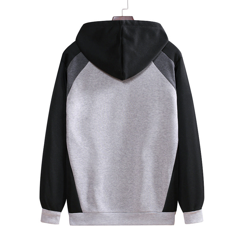 Men Patchwork Hooded Zipper Pullover Sweater
