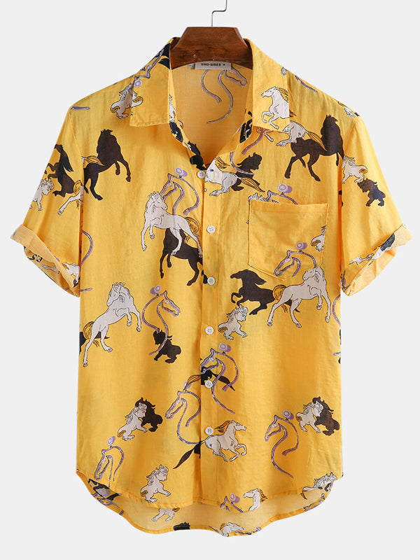 Men Short Sleeves Horse Printed Lapel Shirt