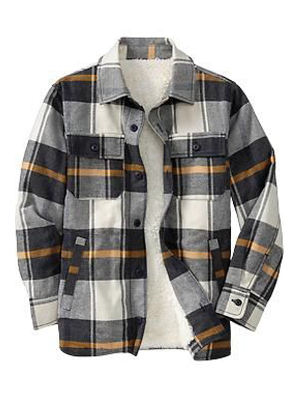 Men's Long Sleeve Vacation Striped Plaid Shirt