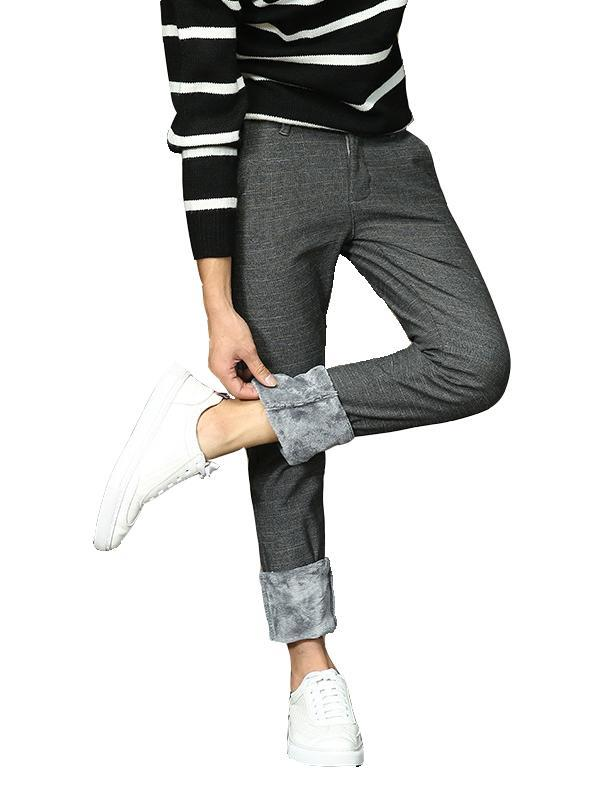 Men Casual Plus Cashmere Straight Leg Pant