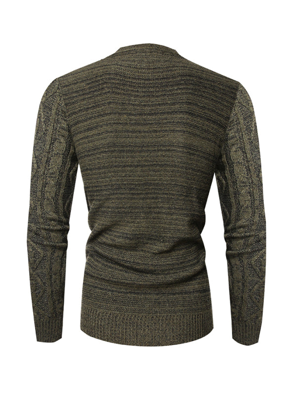 Men Solid Color All-Match Round Neck Sweater
