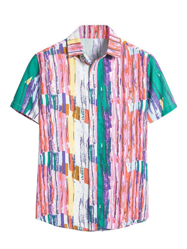 Mens Colorful Striped Casual Short Sleeve Shirts