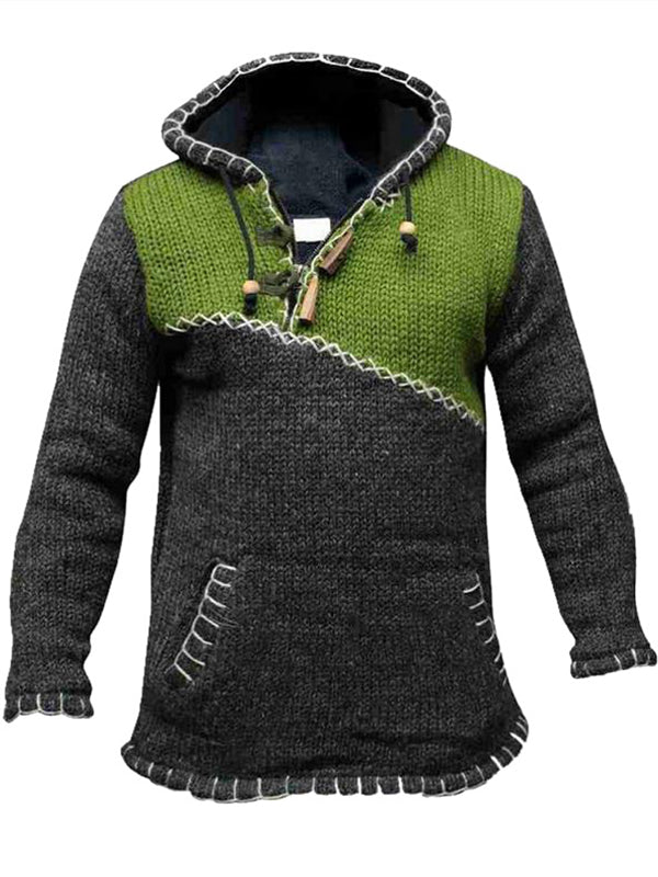 Men Contrast Stitching Sweater