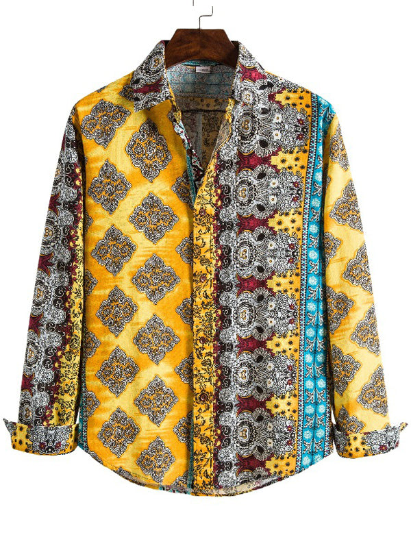 Men Ethnic Print Color Block Shirt