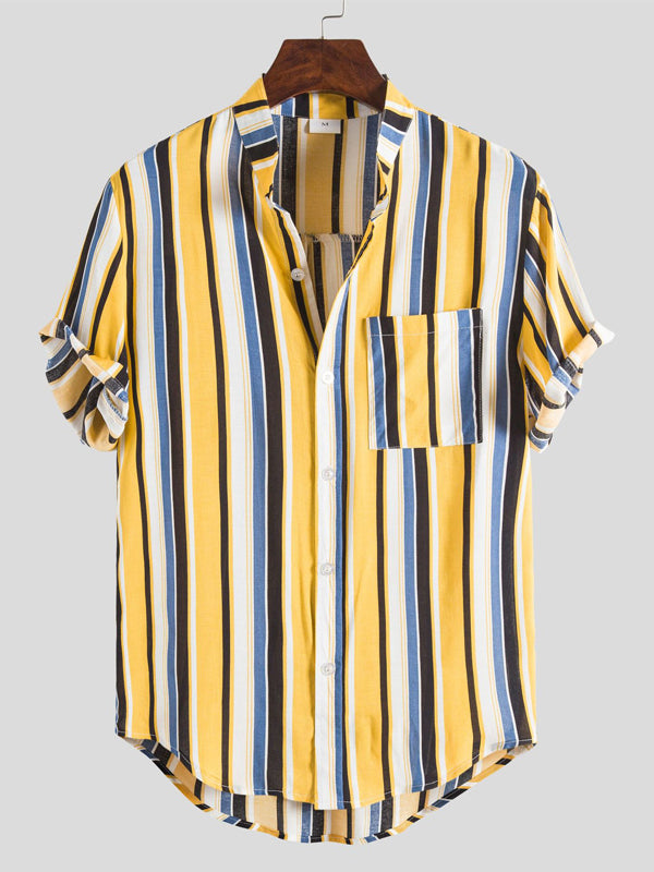 Men Casual Stripe Color Block Stand Collar Shirt Short Sleeve