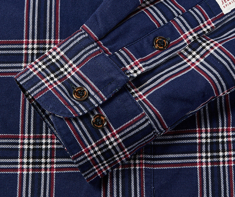 Men Single-Breasted Thick Plaid Cotton Coat