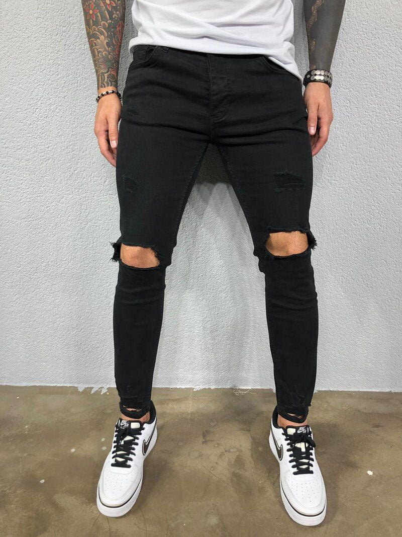 Men Ripped Stretchy Feet Jeans
