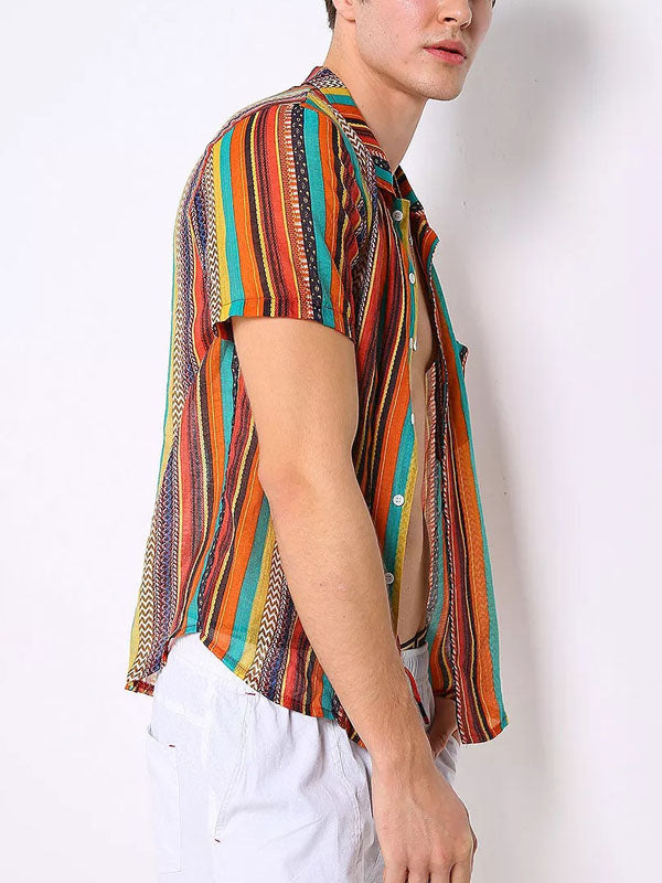 Colorful Striped Printed Lapel Short Sleeves Blouse&Shirt