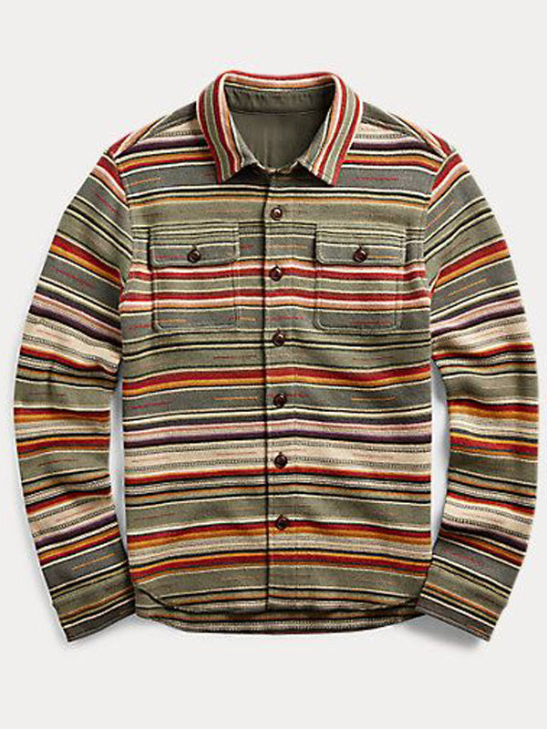 Men's Thick Stripe Casual Long Sleeve Shirt
