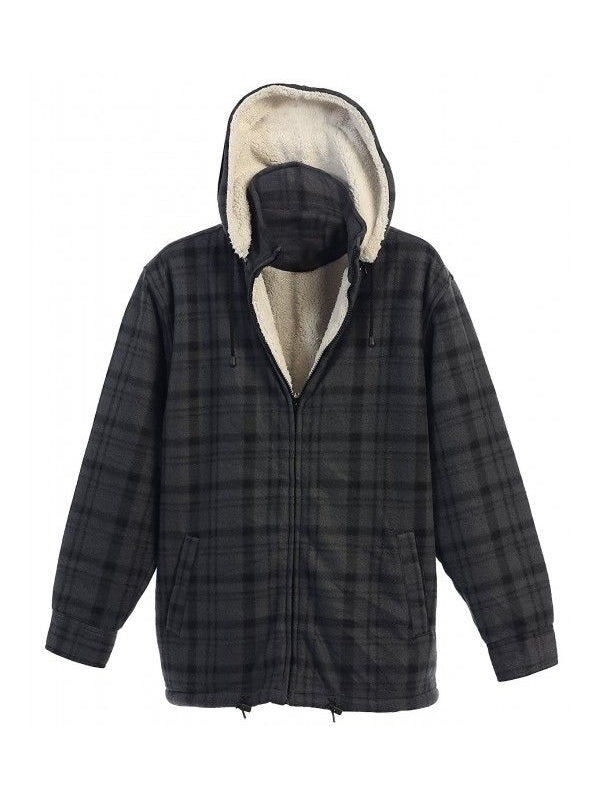 Men Casual Plaid Hooded Jacket