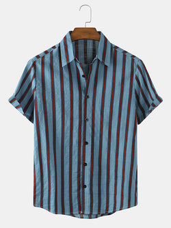 Men Striped Cotton Breathable Casual Short Sleeve Shirts