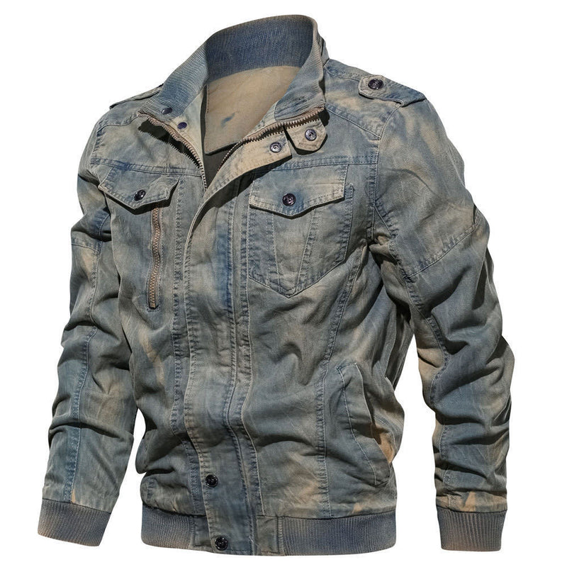 Men Stand Collar Solid Casual Denim Jacket