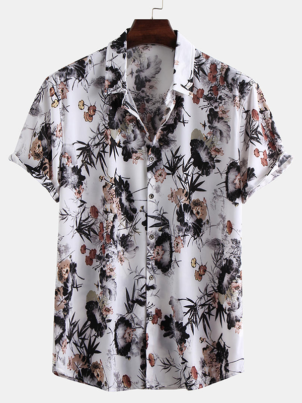 Men Short Sleeves Floral Printed Shirt