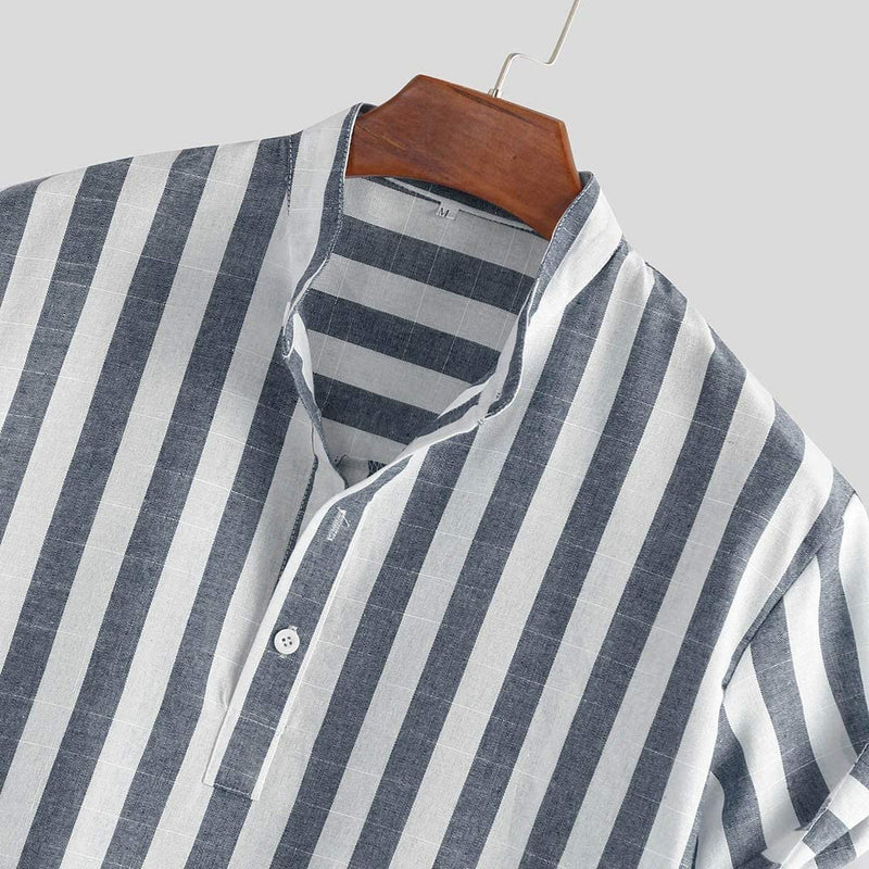Men Beach Striped Shirt Short Sleeve
