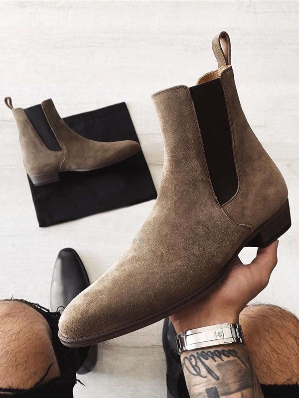 Men Slip-On Color Mix Round Boots