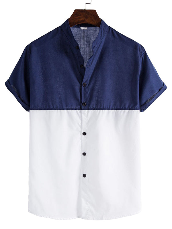 Casual Stitching Lapel Short Sleeve Shirt