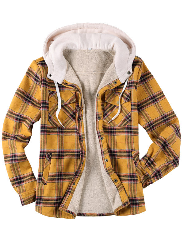 Plaid Long Sleeves  Lamb Cashmere Hoodie Retro Shirt