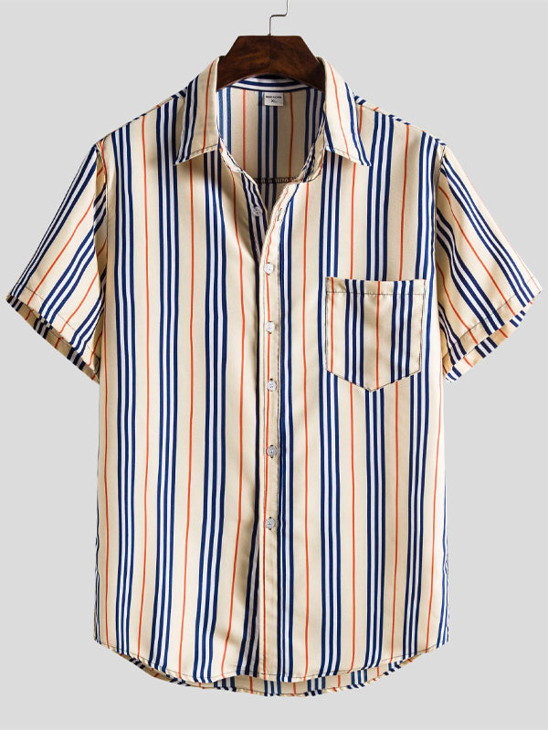 Men Lapel Loose Casual Short Sleeves Striped Shirt