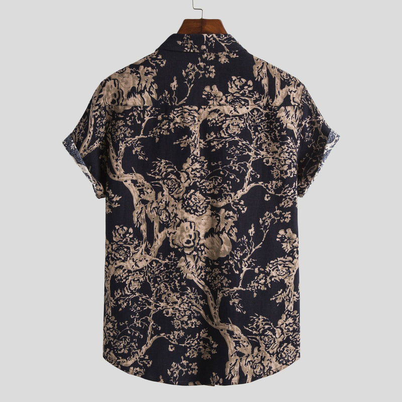 Men Casual Beach Printed Shirt Short Sleeve