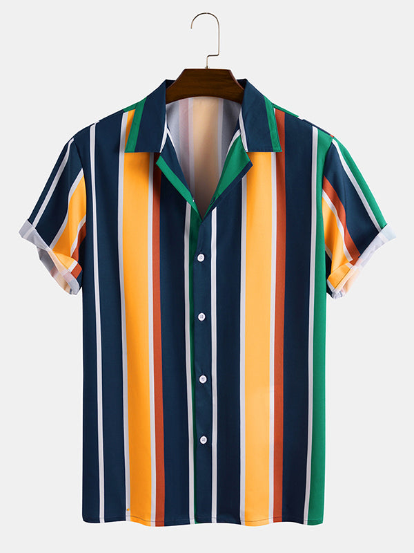 Men Striped Print Casual Short Sleeve Shirt