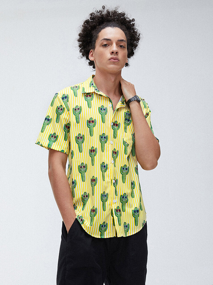 Men Print Lapel Collar Short Sleeve Shirts