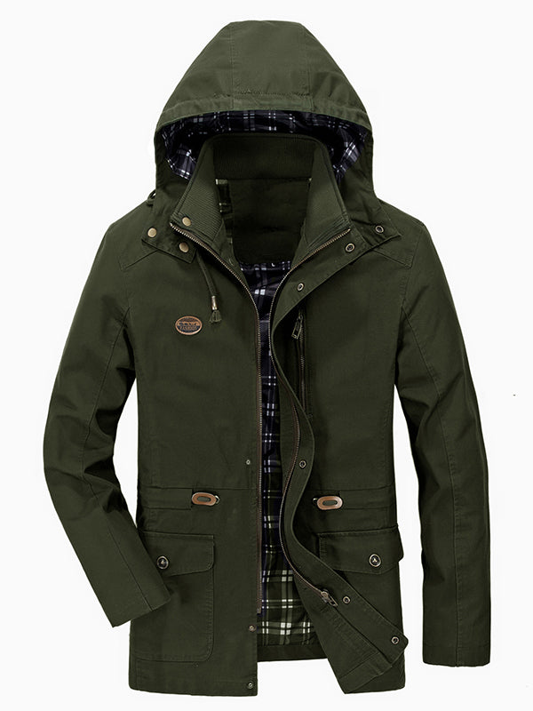 Men Solid Color Hooded Casual Jacket