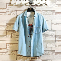 Men Retro Wild Casual Denim Short-Sleeved Shirt