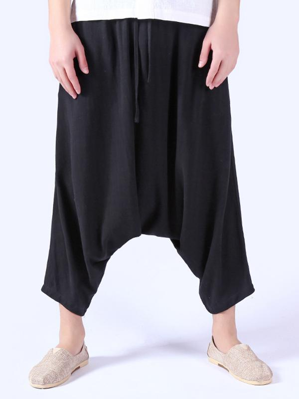 Men Relaxed-Leg Loose Cropped Pants Trousers