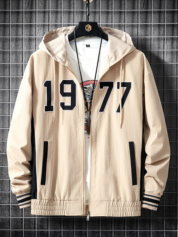 Men Printed Hooded Color-Block  Zipper Jacket