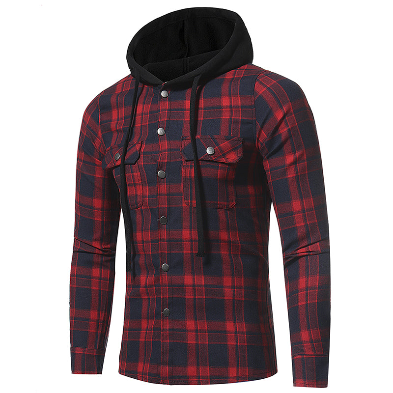 Men Hooded Double Pocket Plaid Shirt