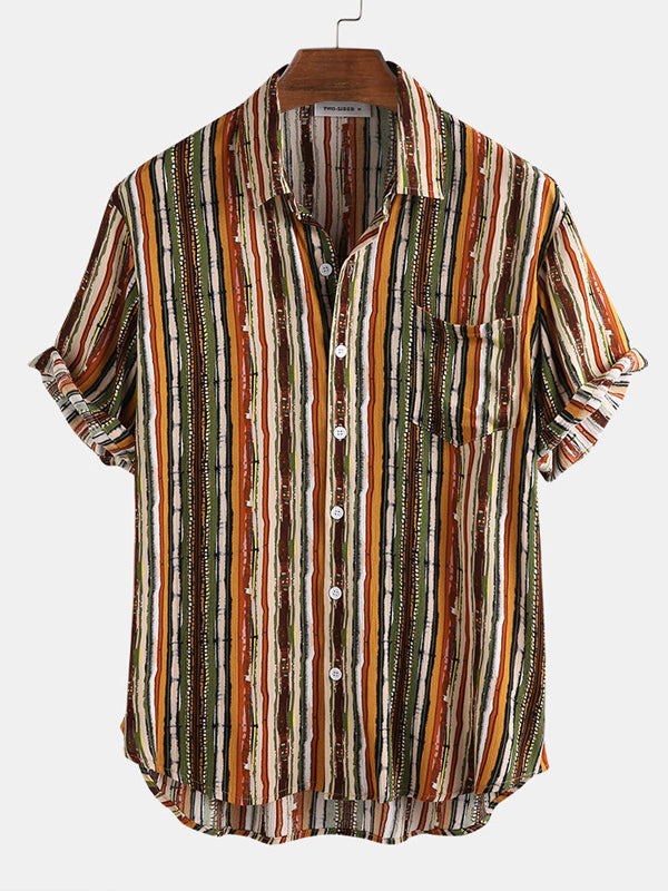 Men Colorful Striped Short Sleeves Lapel Shirt
