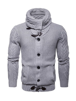 Men Solid Color Knitted Cardigan Sweater