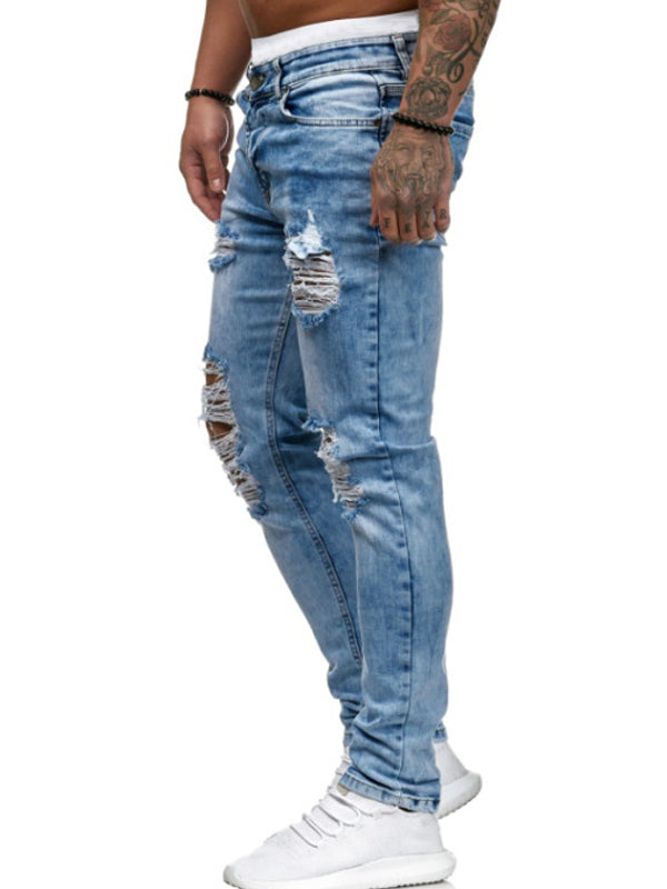 Men Ripped Small Straight Jeans