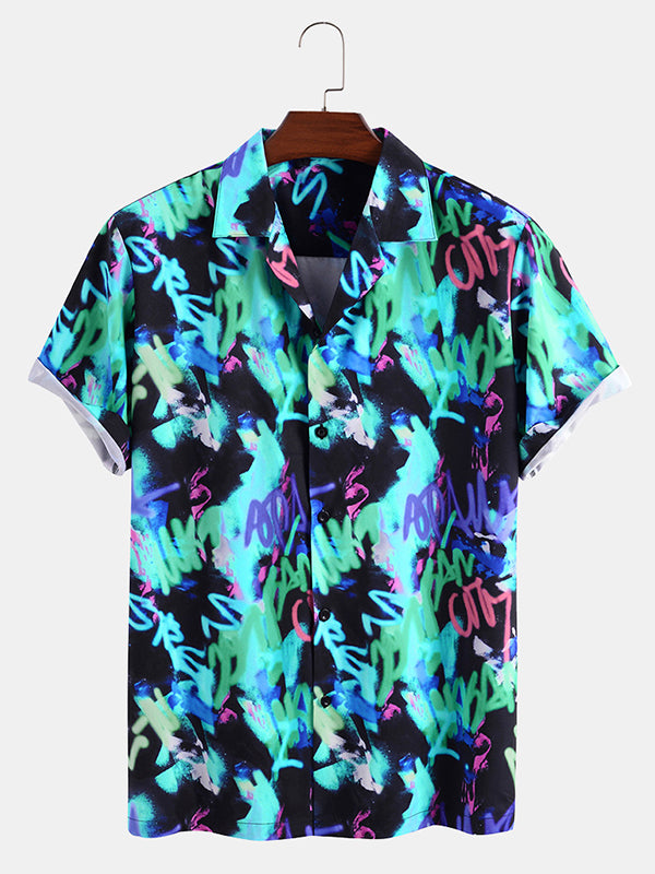 Men Casual Printed Short Sleeve Shirt