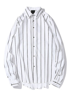 Men Striped Loose Long Sleeves Shirt
