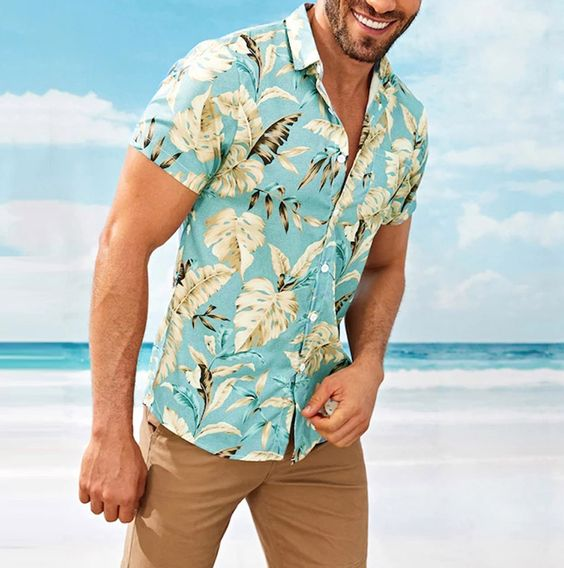 Men Hawaii Style Short Sleeves Shirt