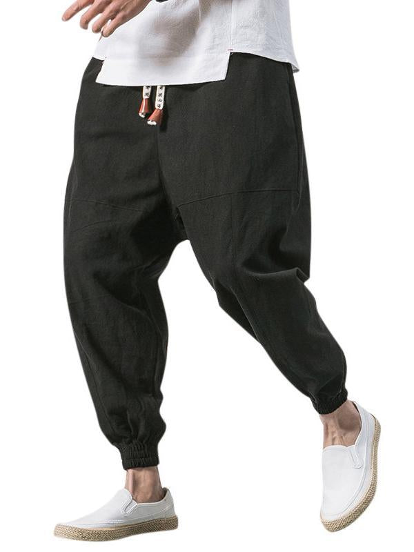 Men Linen Breathable Solid Casual Harem Pant