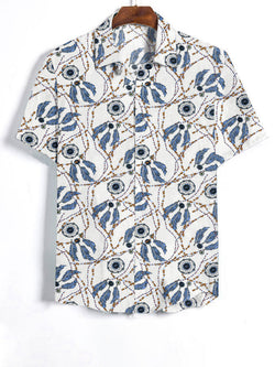 Men Short Sleeves Lapel Ethnic Printed Casual Shirt