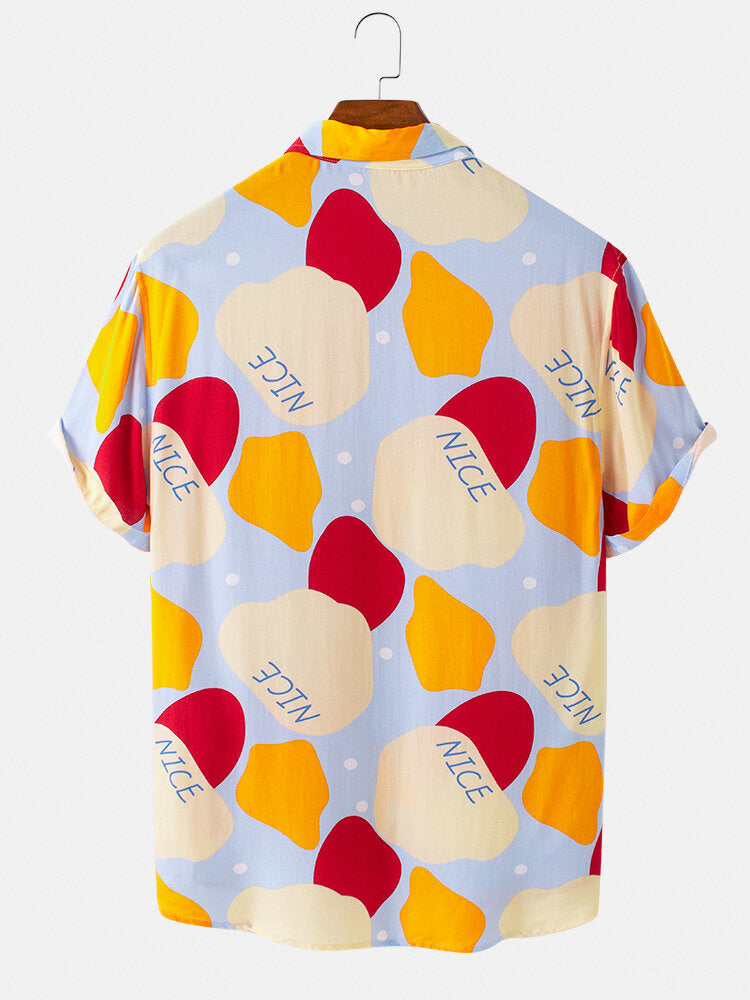 Mens Multi Color Block Short Sleeve Printed Shirt
