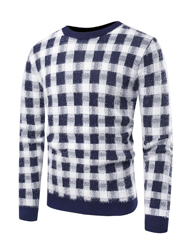 Men Contrast Stitching Plaid Sweater