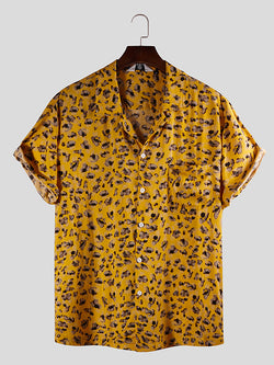 Men Printed Short Sleeves Lapel Yellow Shirt