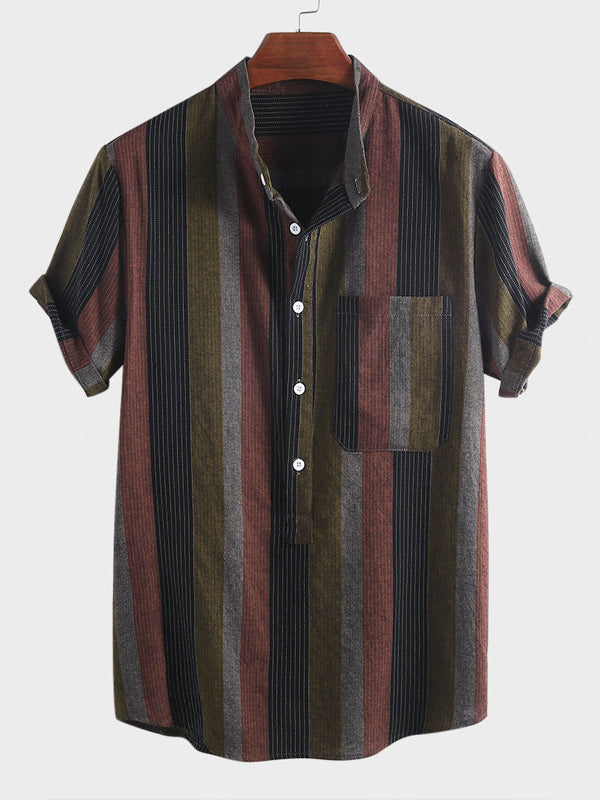 Mens Stand Collar Short Sleeves Striped Blouses&Shirts