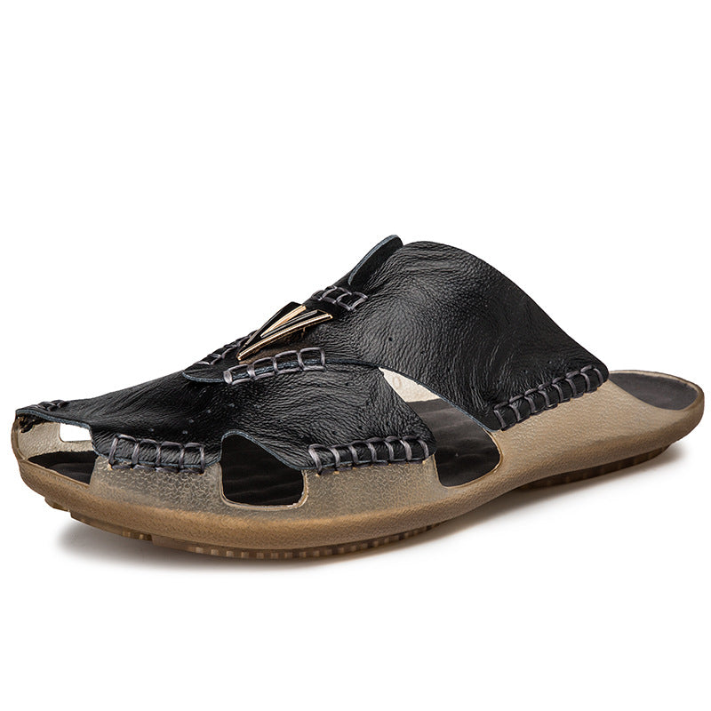 Mens Hand Stitching Outdoor Closed Toe Leather Sandals Beach Slipper