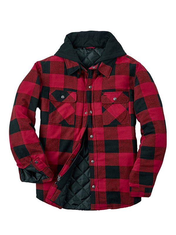 Men Plaid Printed Chest Pocket Casual Jacket
