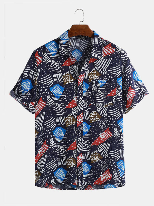 Men Short Sleeves Ethnic Printed Summer Style Shirt