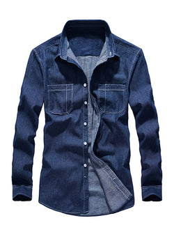 Men New Casual Long-Sleeved Collar Shirt
