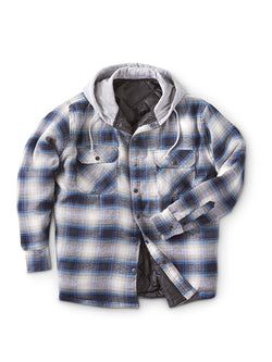 Men Plaid Print Hooded Casual Jacket