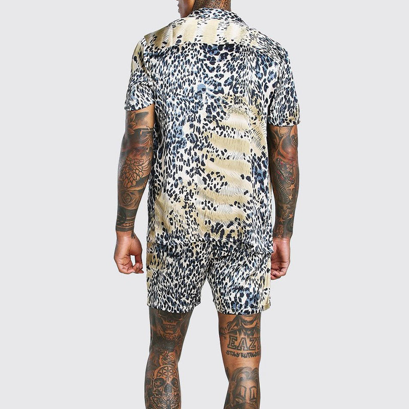 Men Beach Printed Short Sleeve Shorts Suit