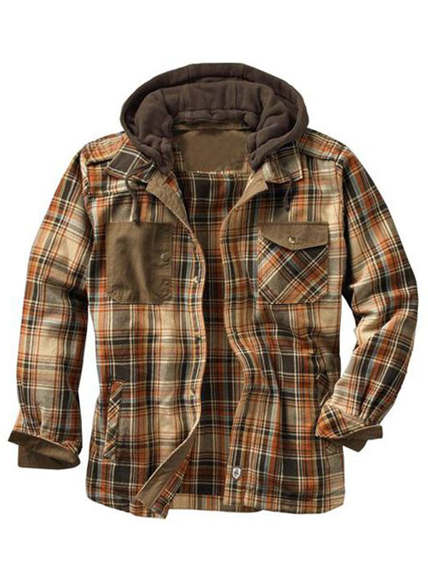 Men's Hooded Flannel Plaid Shirt