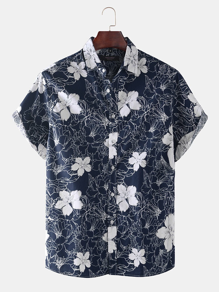 Men Short Sleeves Lapel Floral Printed Shirt